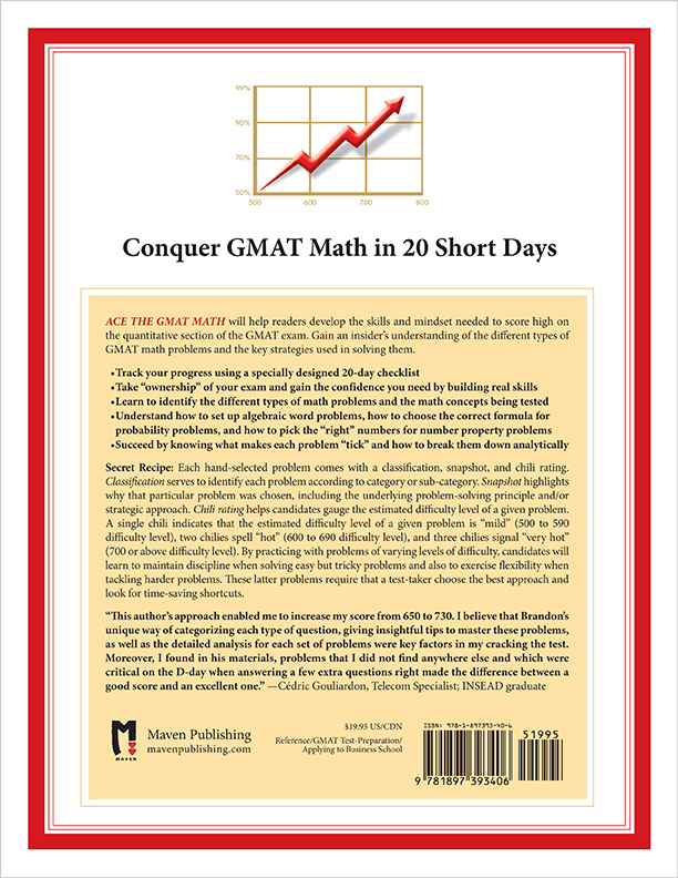 Back Cover of Ace the GMAT Math by Brandon Royal