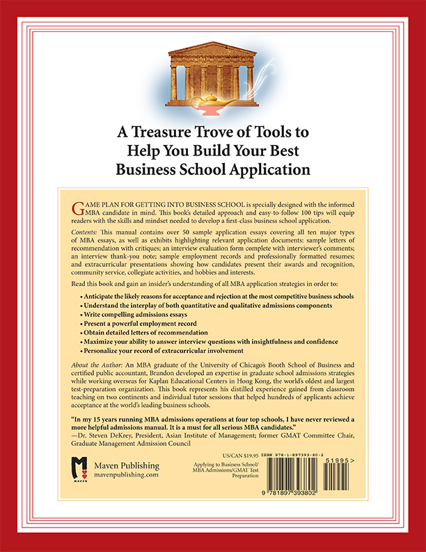 Back Cover of Getting Into Business School by Brandon Royal